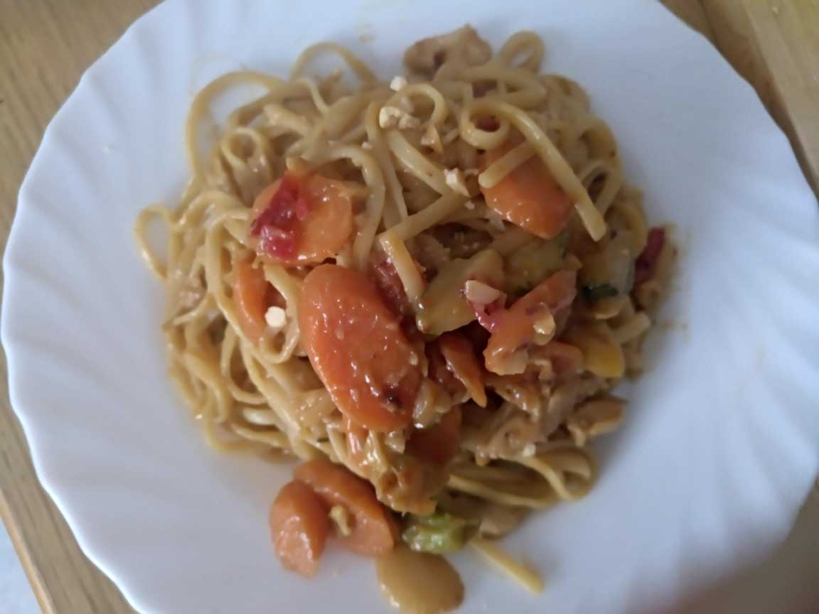 home made thai chicken pasta