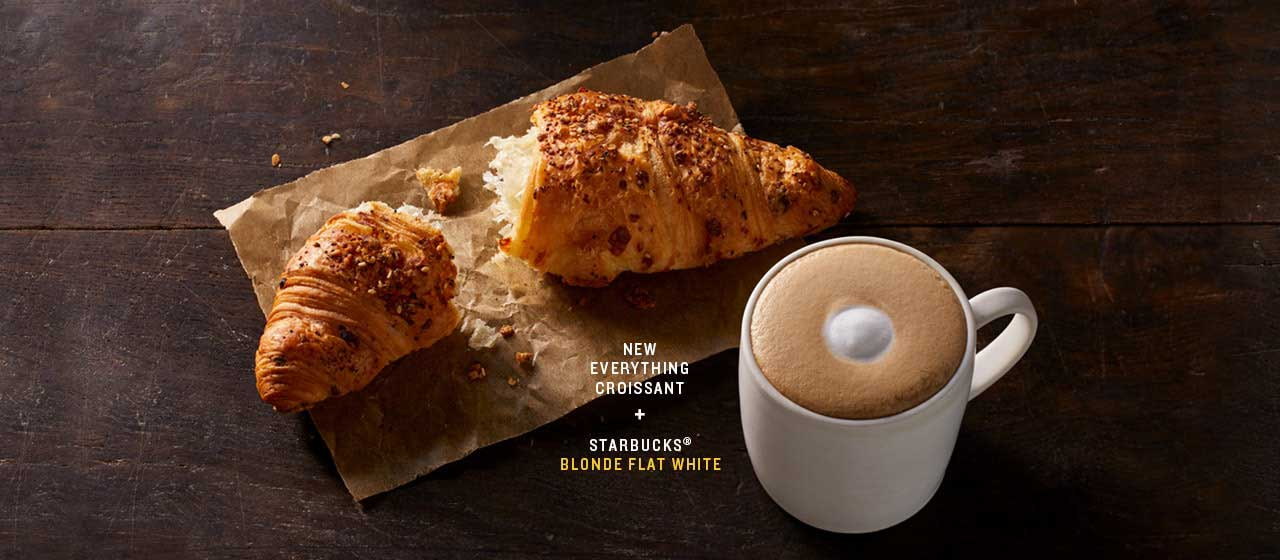 starbucks coffee and croissant