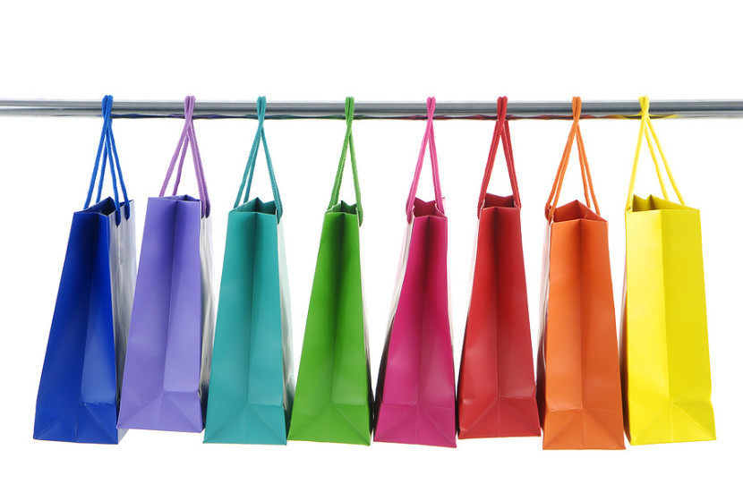 shopping bags on rack